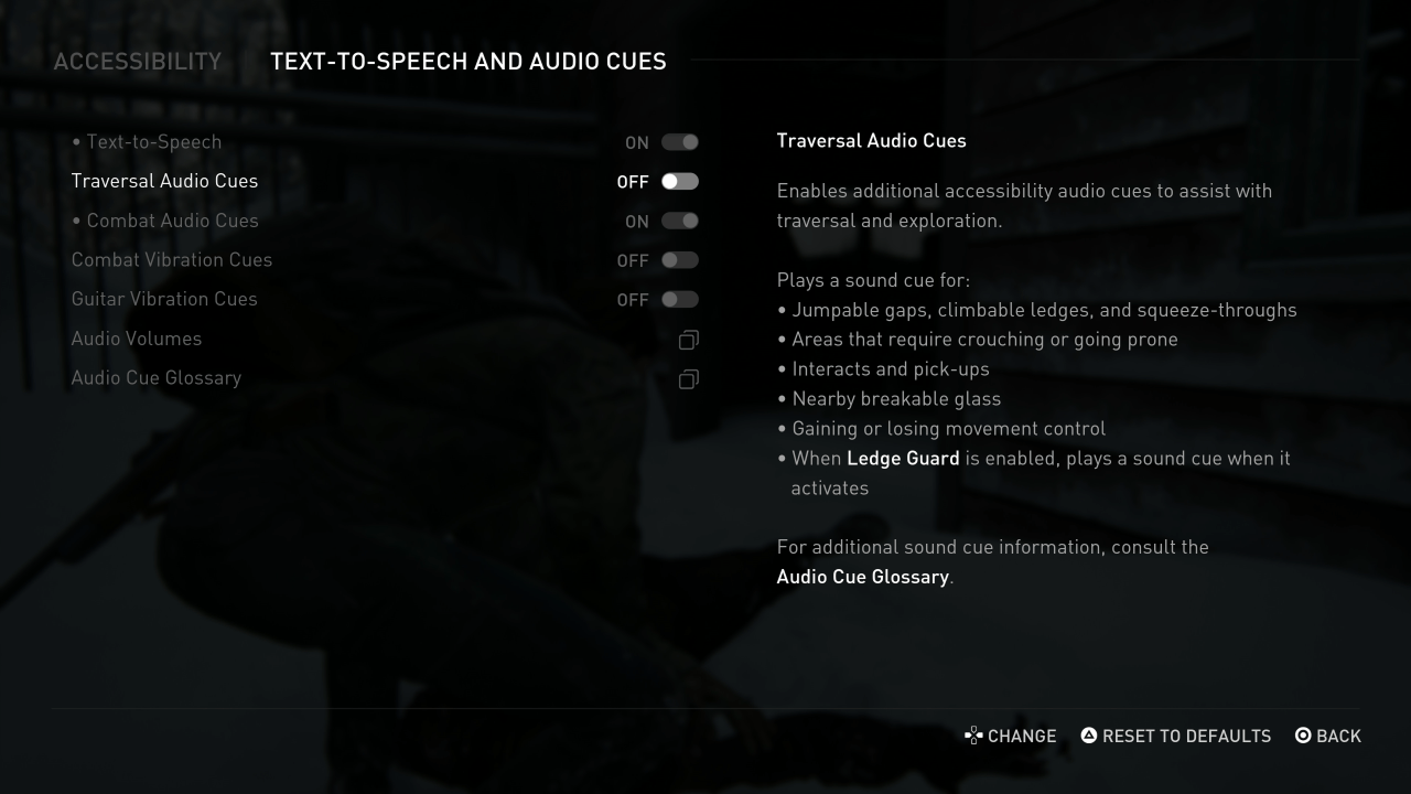 the last of us 2 accessibility menu