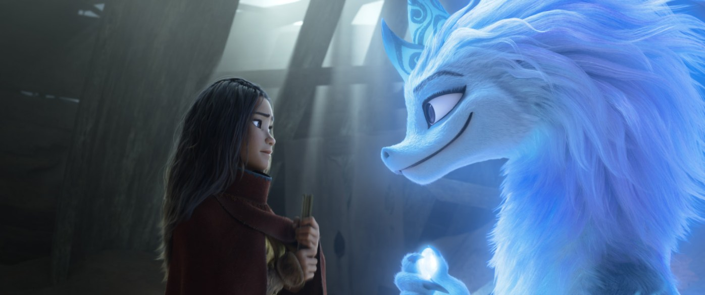 "Raya seeks the help of the legendary dragon, Sisu. Seeing what's become of Kumandra, Sisu commits to helping Raya fulfill her mission in reuniting the lands. Featuring Kelly Marie Tran as the voice of Raya and Awkwafina as the voice of Sisu, Walt Disney Animation Studios' ""Raya and the Last Dragon"" will be in theaters and on Disney+ with Premier Access on March 5, 2021. © 2021 Disney. All Rights Reserved."