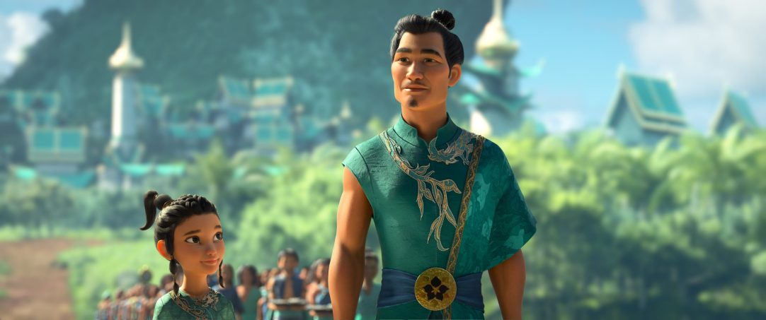"Young Raya looks up to her beloved father Benja, Chief of the Heart Lands. Benja, the legendary Guardian of the Dragon Gem, is an idealistic and bold visionary who seeks to reunite the fractured kingdom of Kumandra and restore harmony. Featuring Daniel Dae Kim as the voice of Chief Benja, Walt Disney Animation Studios' ""Raya and the Last Dragon"" will be in theaters and on Disney+ with Premier Access on March 5, 2021. © 2021 Disney. All Rights Reserved."