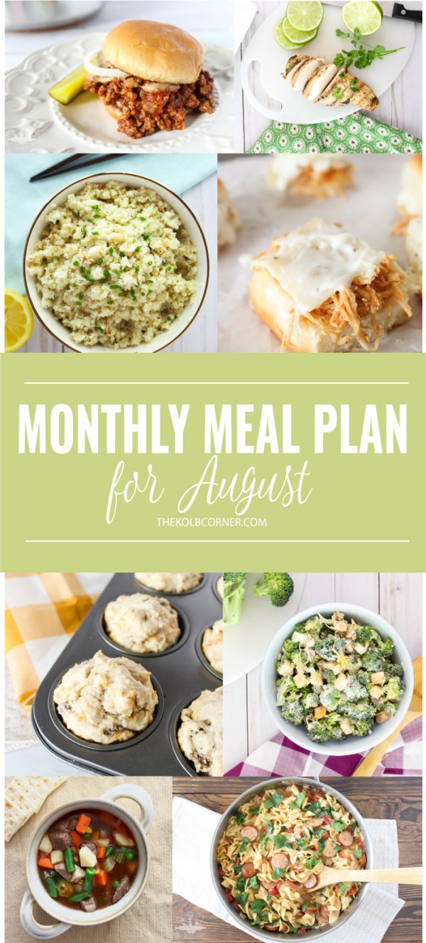 August Monthly Meal Plan | Domestically Creative