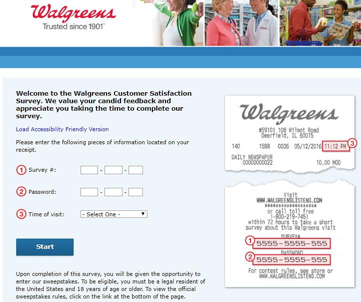 walgreenslistens survey homepage