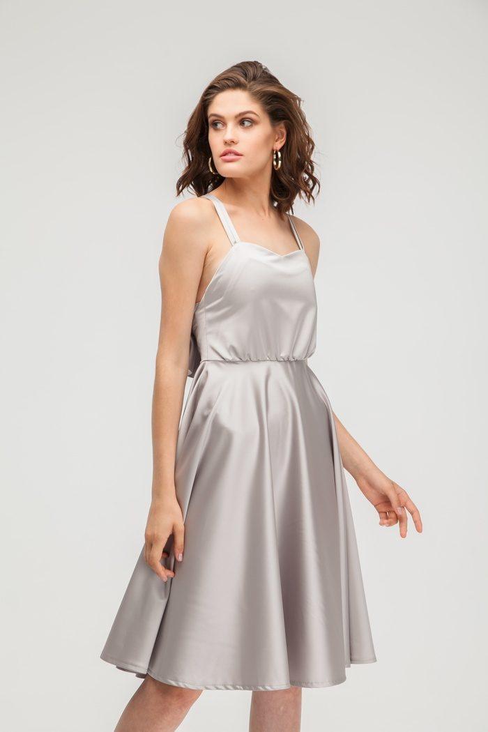 Платье атласное с открытой спиной капучино - THE LACE