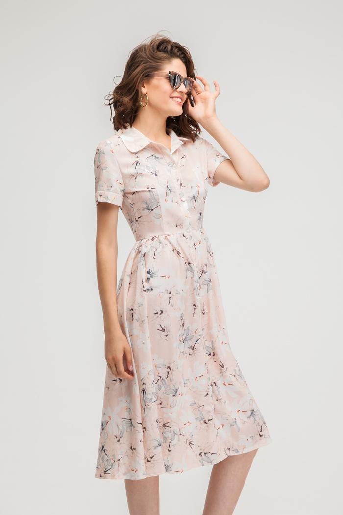 Платье-рубашка миди с цветочным принтом ванильное - THE LACE