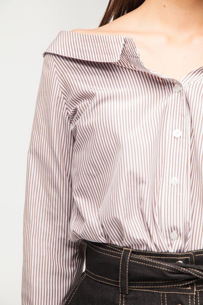 Рубашка с открытыми плечами бежевая - THE LACE