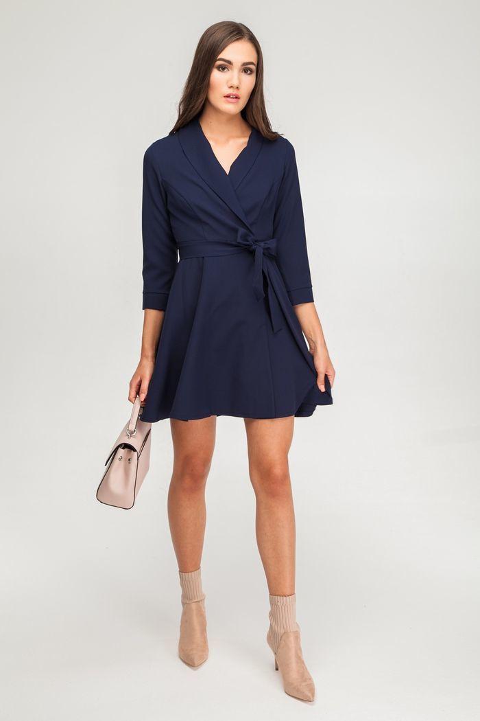Платье мини на запах синее - THE LACE