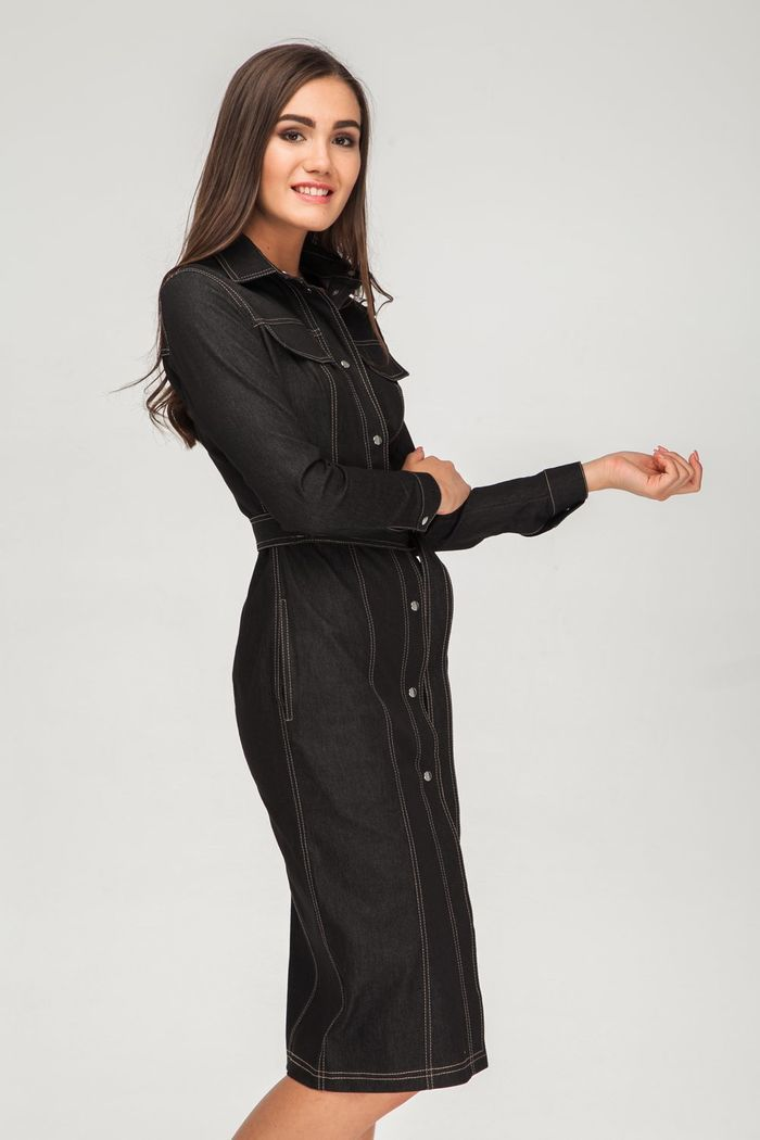 Платье миди из денима на кнопках черное - THE LACE
