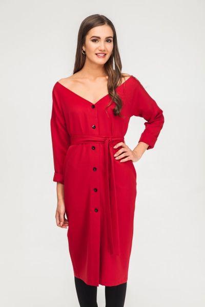 Платье со спущенными плечами красное - THE LACE