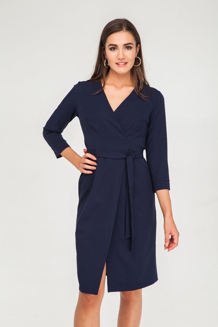Платье миди на запах синее - THE LACE