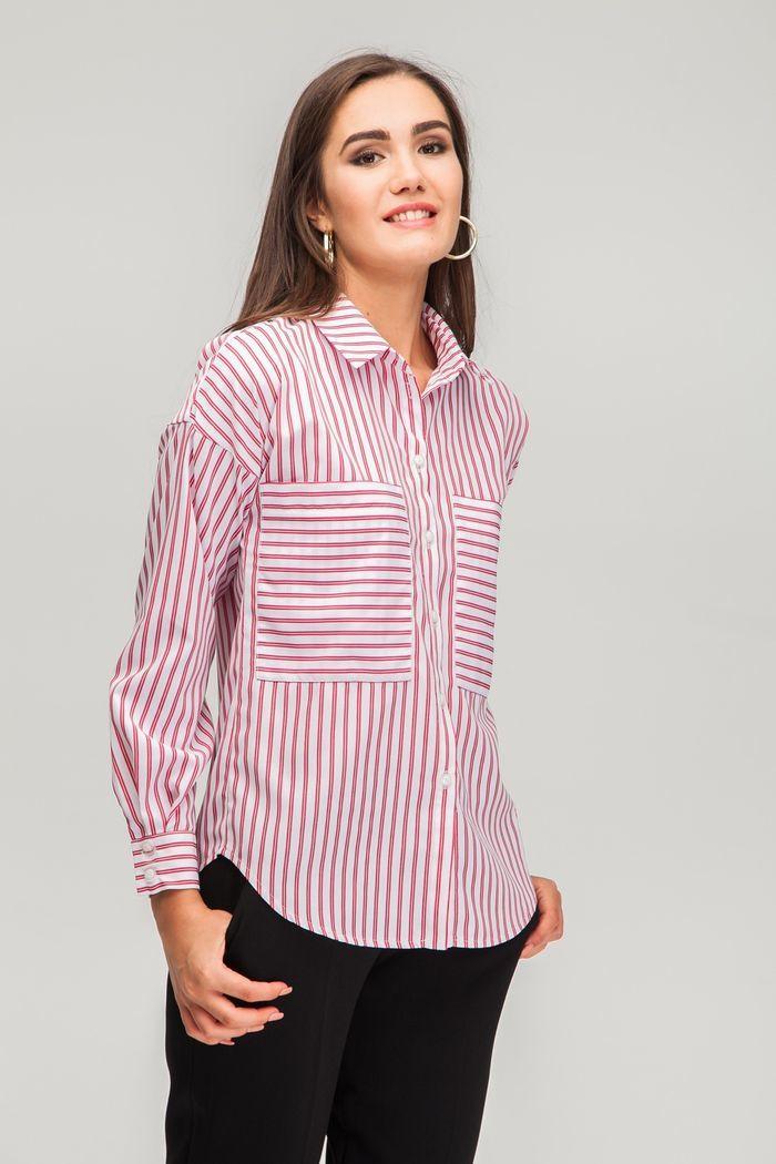 Рубашка oversize в полоску красно-белая - THE LACE