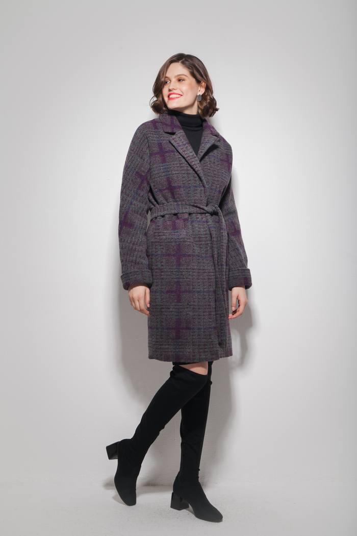 Пальто oversize с узором фиолетовое - THE LACE