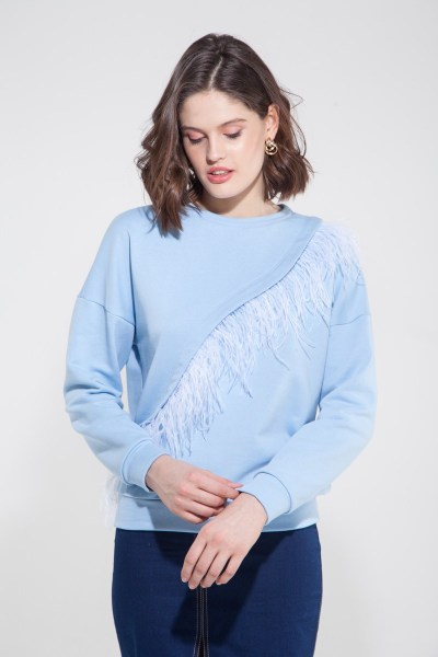 Свитшот с перьями голубой - THE LACE