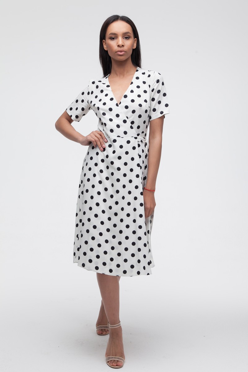 Платье на запах в горох миди белое - THE LACE