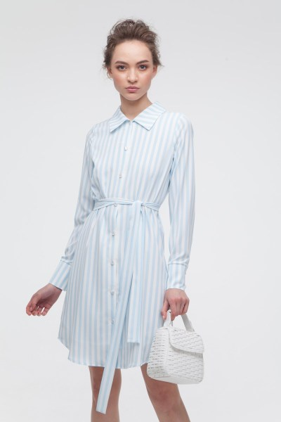Платье-рубашка в полоску голубое - THE LACE