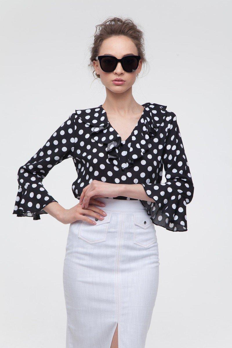 Блуза с воланами в горох чёрная — THE LACE