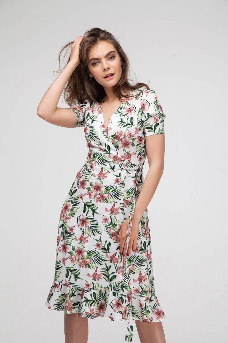 Платье миди на запах с тропическим принтом - THE LACE