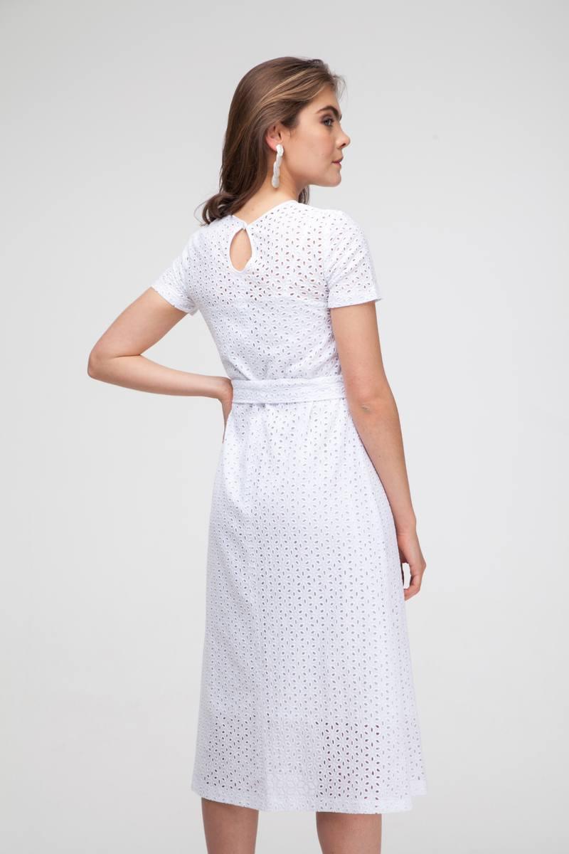 Платье прямого кроя из хлопка белое - THE LACE