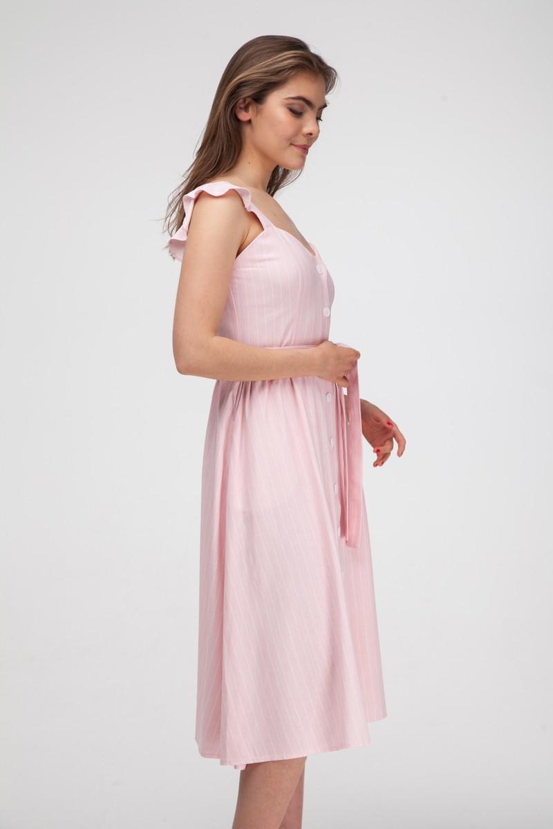 Сарафан из льна в полоску розовый - THE LACE