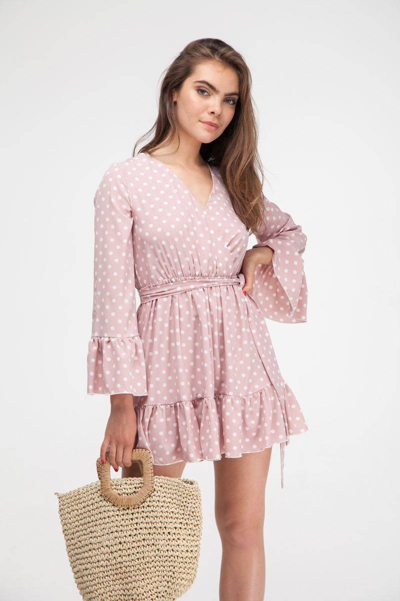 Платье с воланами в горох розовое - THE LACE
