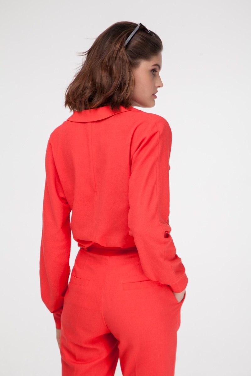 Рубашка из льна коралловая - THE LACE