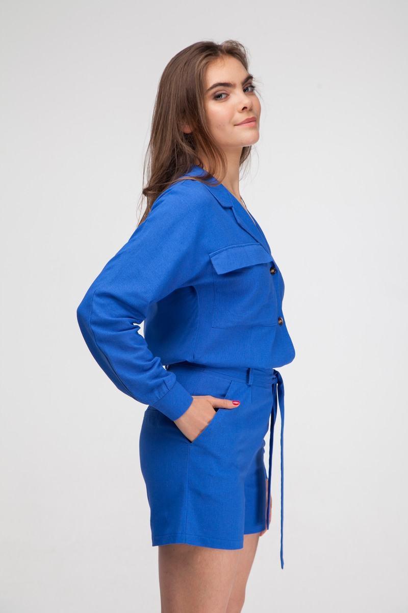 Рубашка из льна ультрамарин - THE LACE
