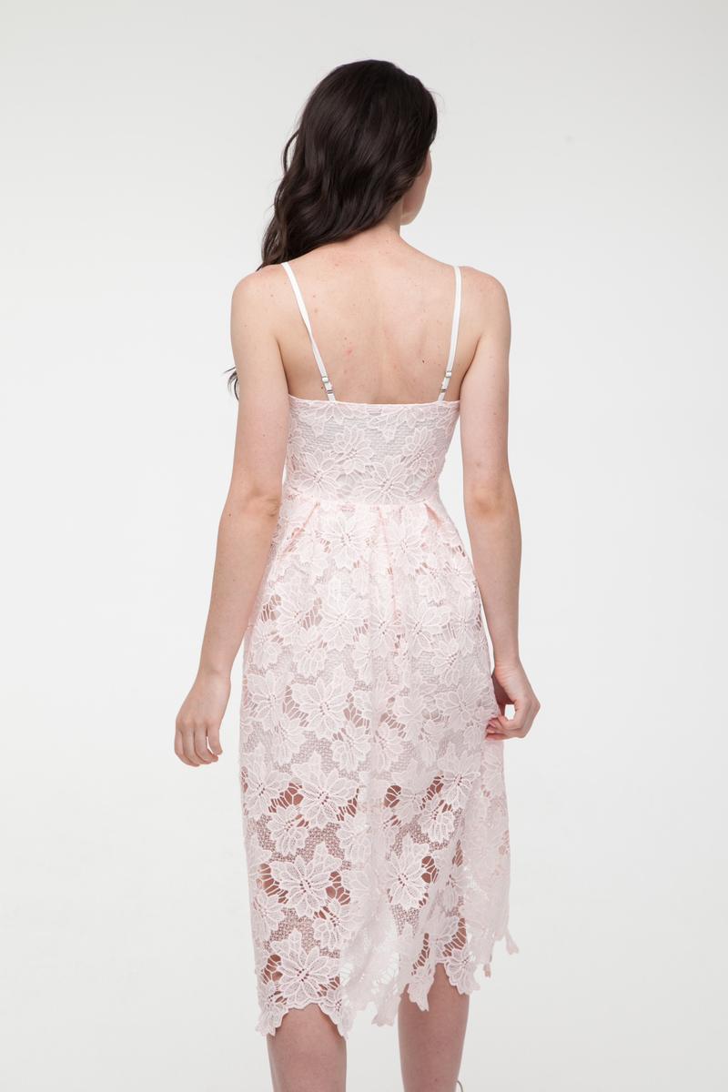 Платье кружевное розовое