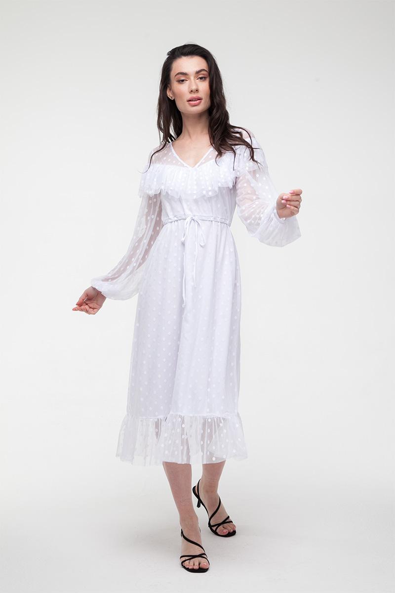 Платье миди из сетки в горох белое
