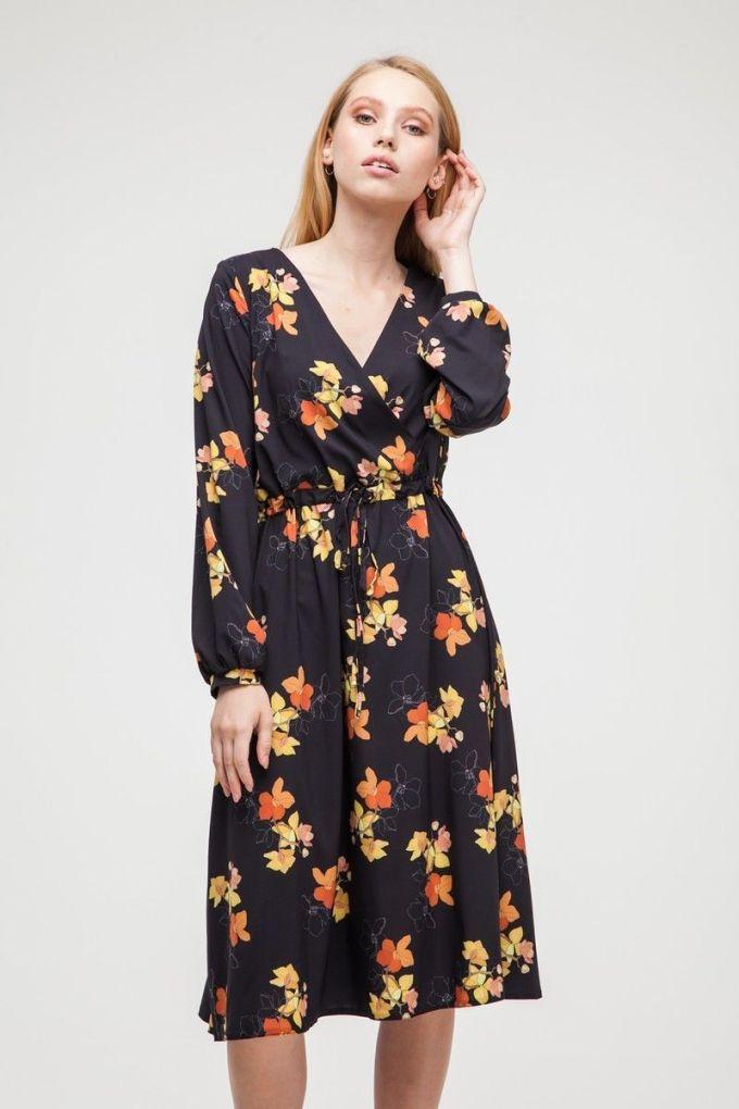 Платье миди на запах Mysterious Jasmine - THE LACE