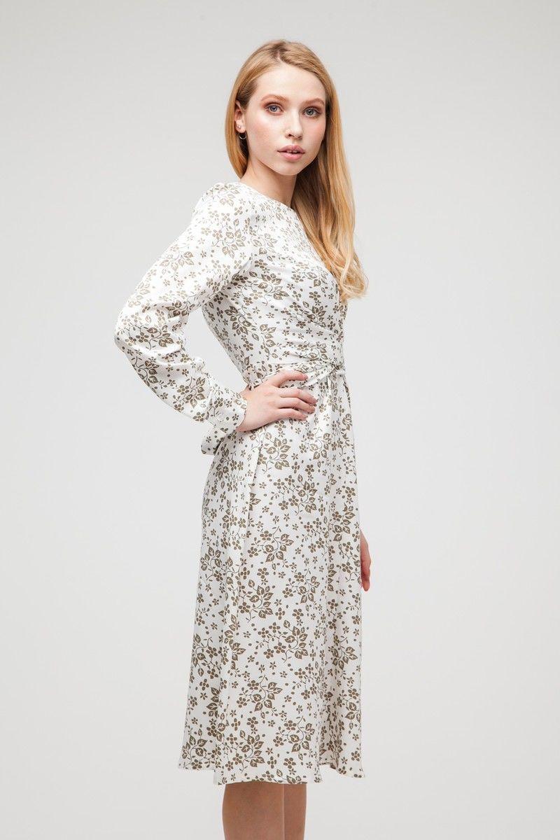 Платье миди с узлом в цветочный принт белое - THE LACE