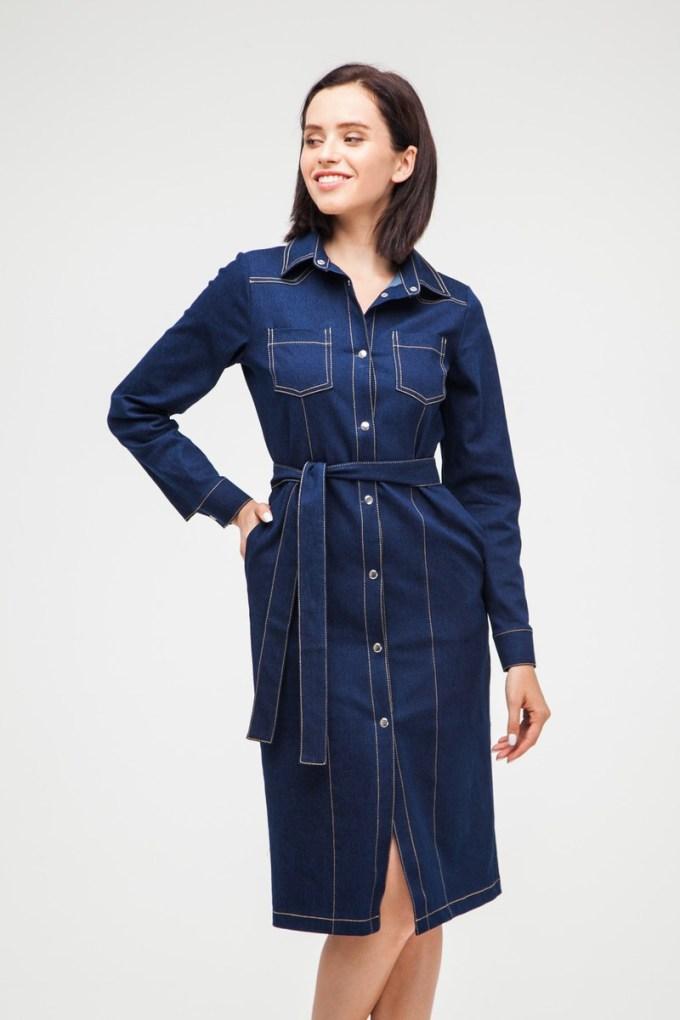 Платье миди на кнопках из денима темно-синее - THE LACE