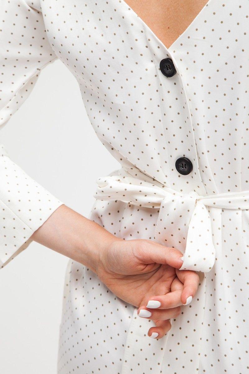 Платье на пуговицах по спине в мелкий горох - THE LACE