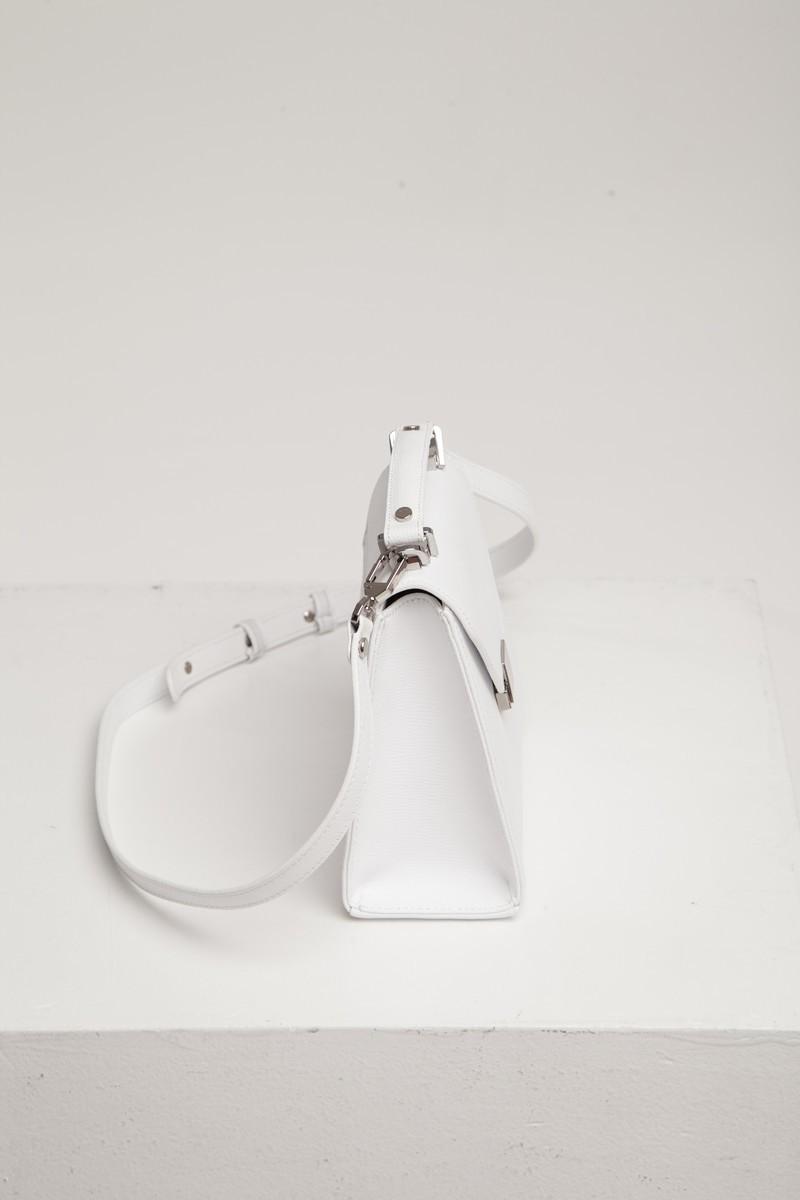 Сумка кожаная Alba mini белая - THE LACE