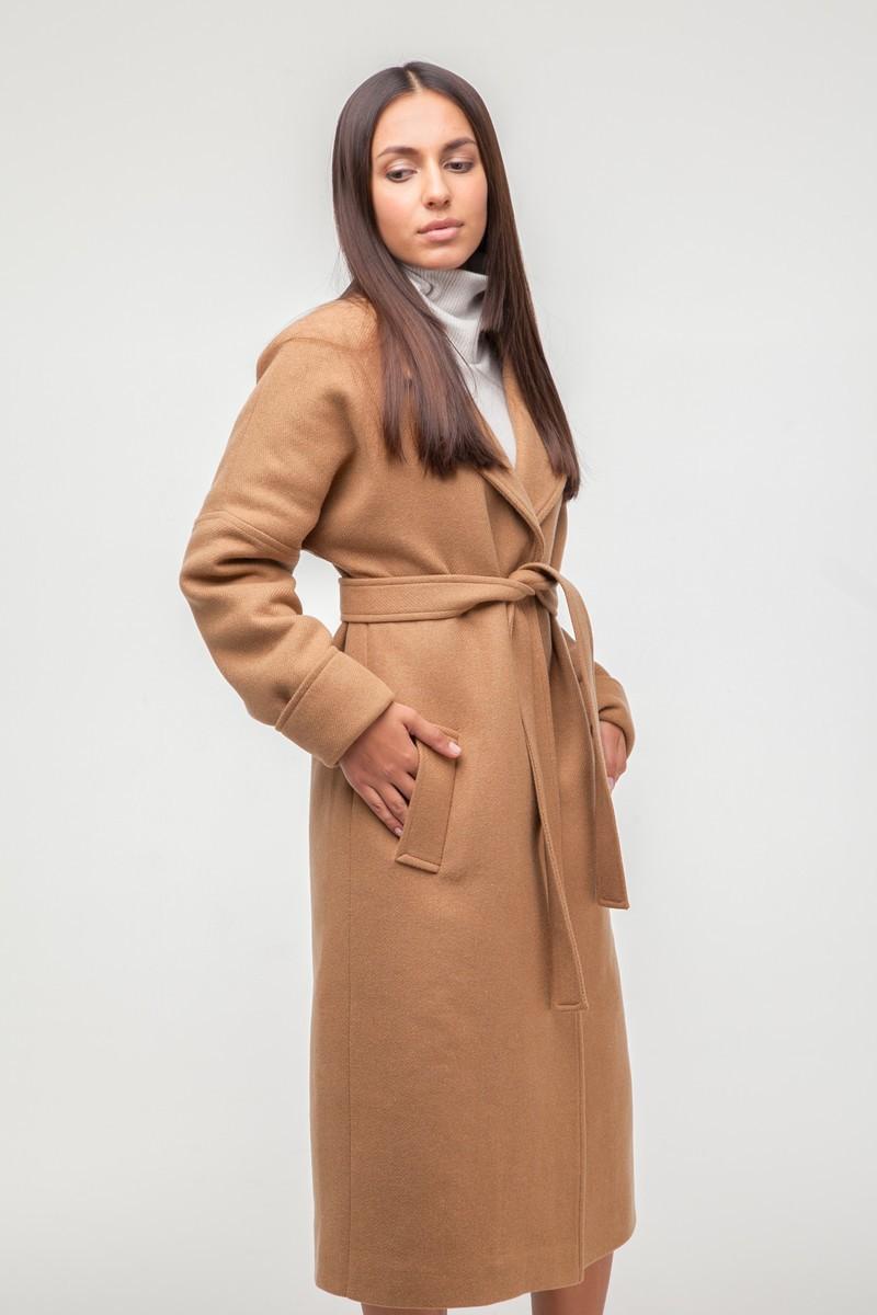 Пальто-халат шерстяное утепленное Camel - THE LACE