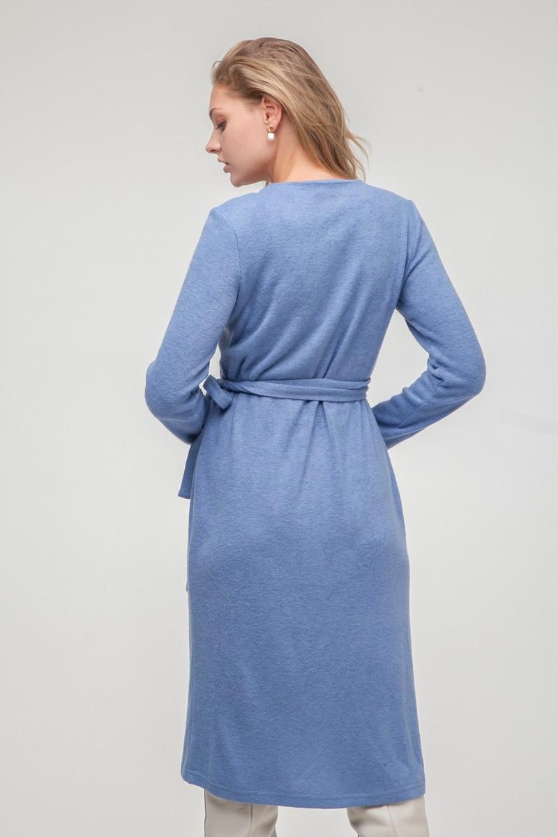 Платье из ангоры на запах голубое - THE LACE