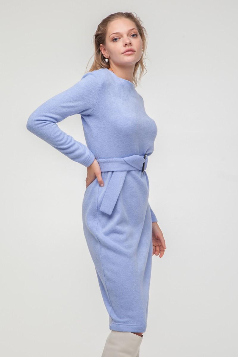 Платье из ангоры с поясом лавандовое - THE LACE