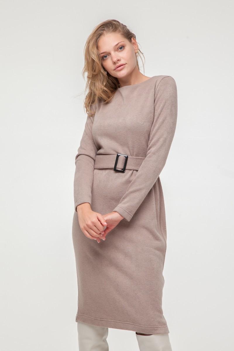 Платье из ангоры с поясом бежевое - THE LACE