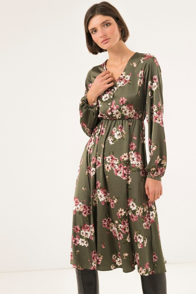 Платье миди с пуговицами оливковое Floral mood - THE LACE