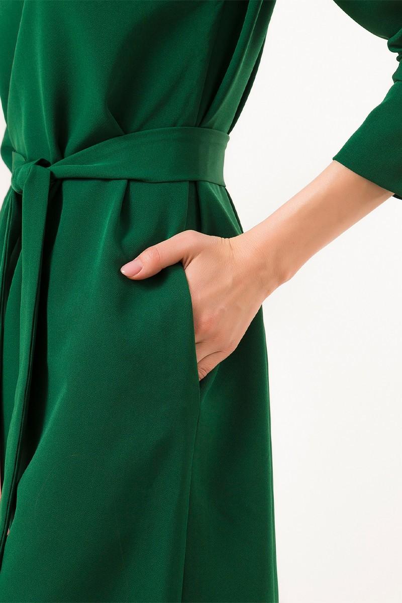 Платье на пуговицах по спине зеленое - THE LACE
