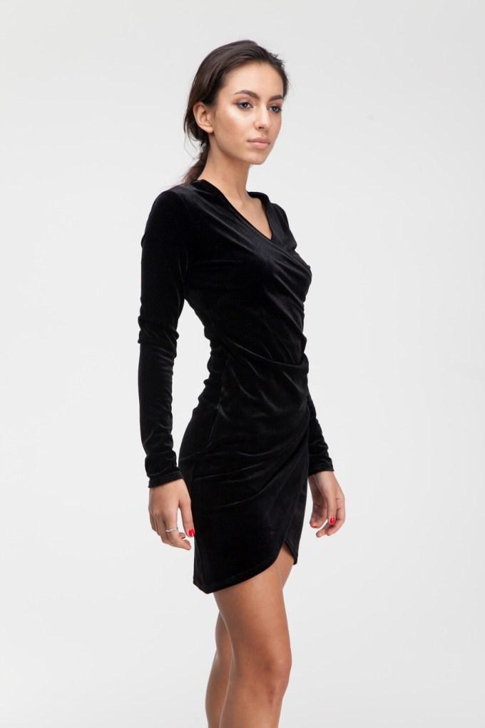 Платье мини из бархата черное - THE LACE