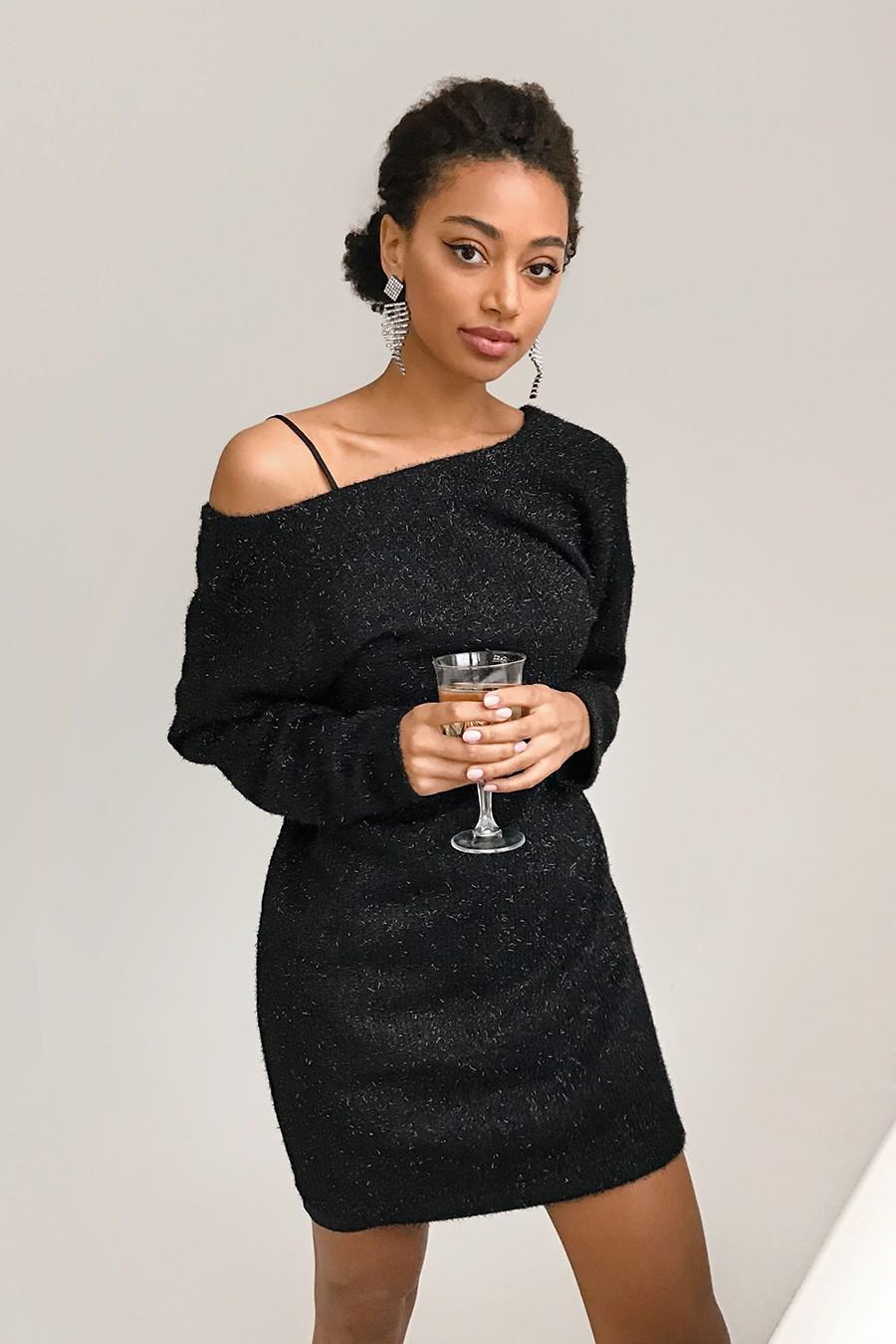 Платье свободного кроя с люрексом черное - THE LACE