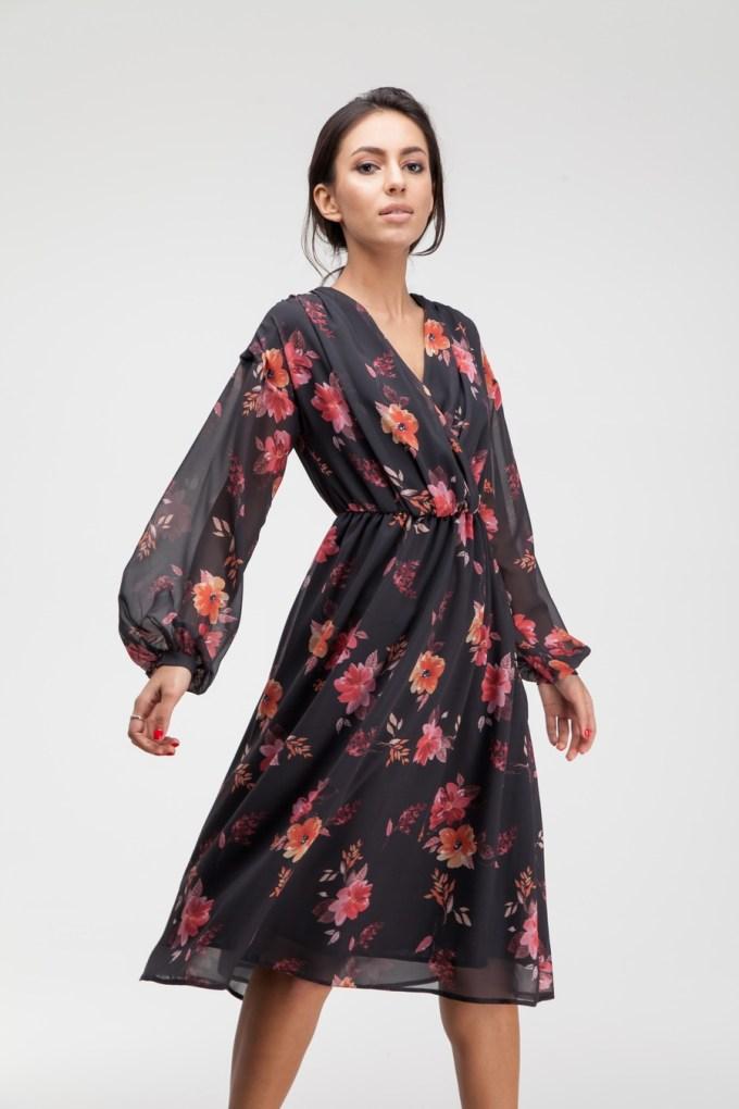 Платье миди черное Autumn mood - THE LACE