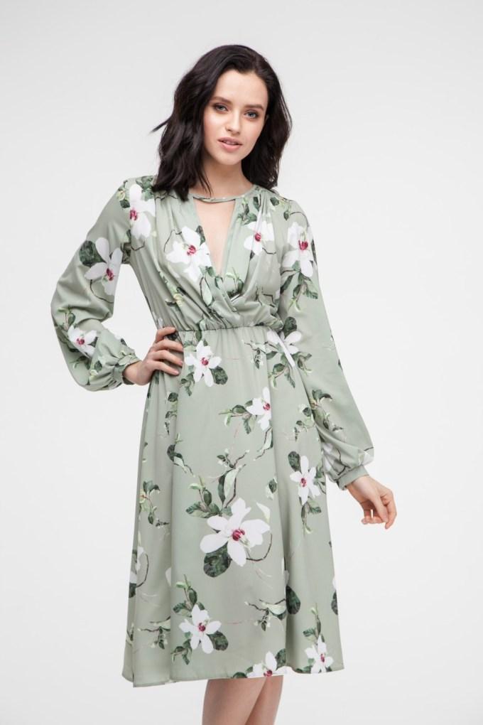 Платье миди фисташковое Spring flowers - THE LACE