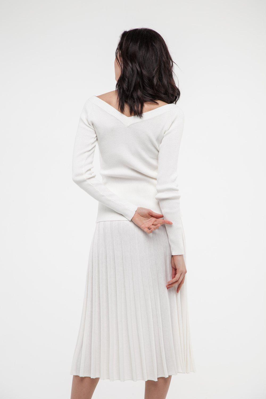 Костюм трикотажный со спущенными плечами белый - THE LACE
