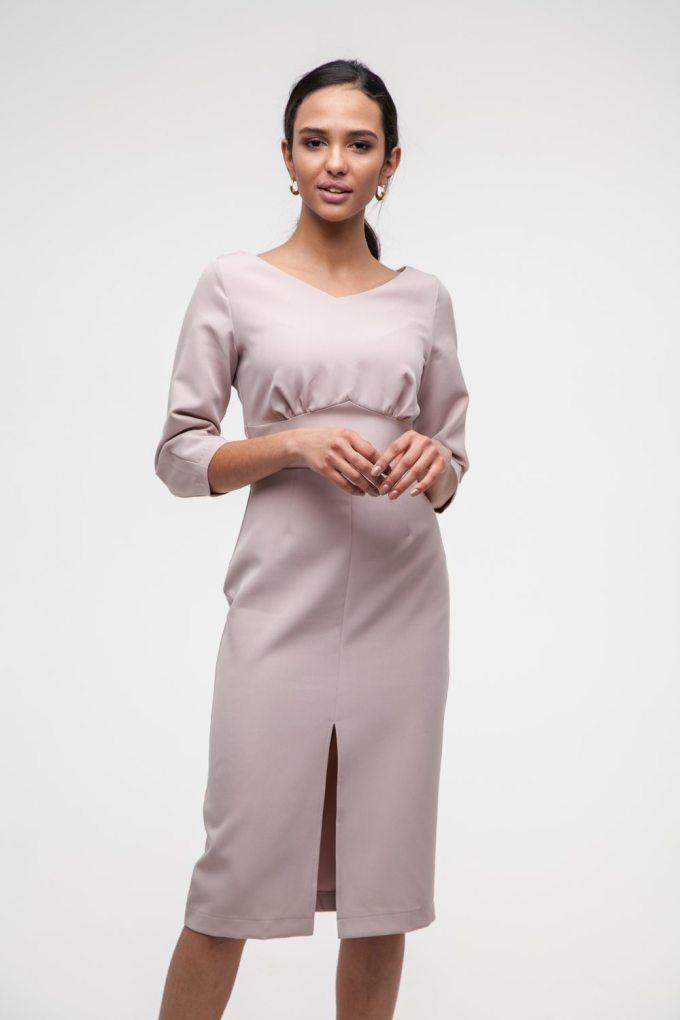 Платье миди с фигурной талией бежевое - THE LACE