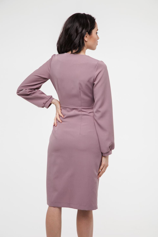 Платье миди на запах с пуговицами пудровое - THE LACE