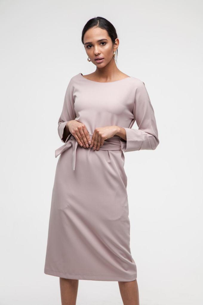 Платье на пуговицах по спине бежевое - THE LACE