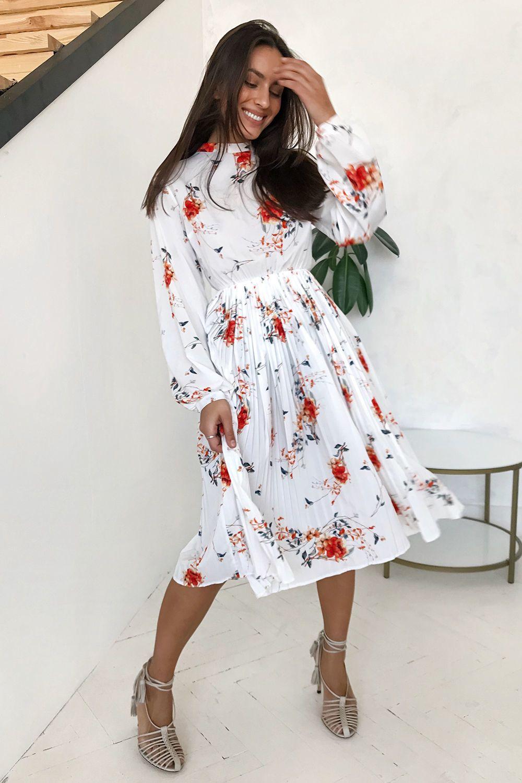 Платье миди с юбкой плиссе Posh flowers - THE LACE