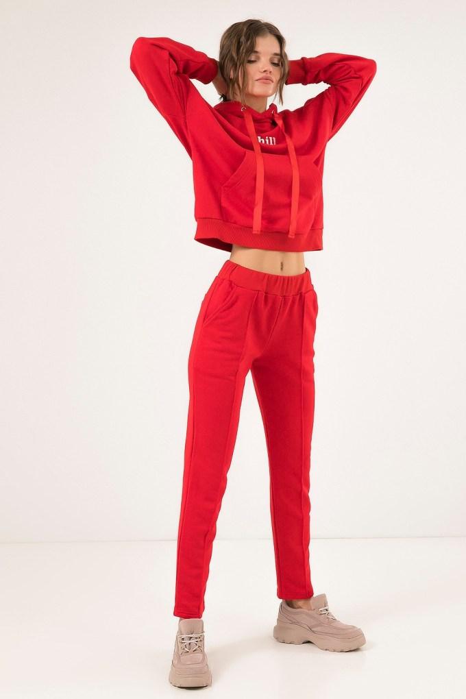 Костюм из худи и брюк со стрелкой красный - THE LACE