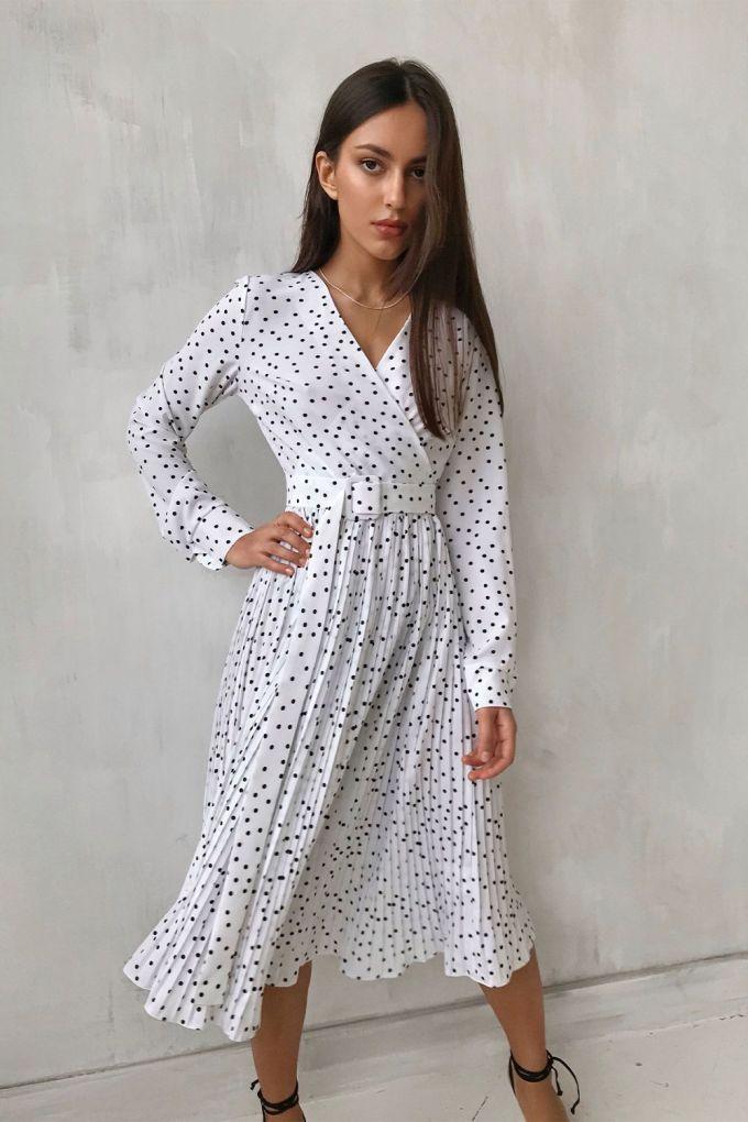 Платье миди на запах с юбкой плиссе в горох белое - THE LACE