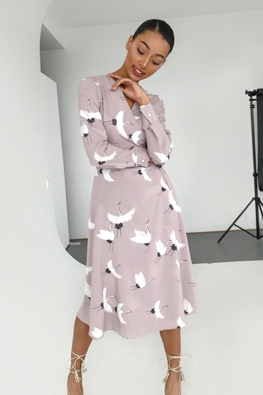 Платье миди на запах бежевое Sunbirds - THE LACE