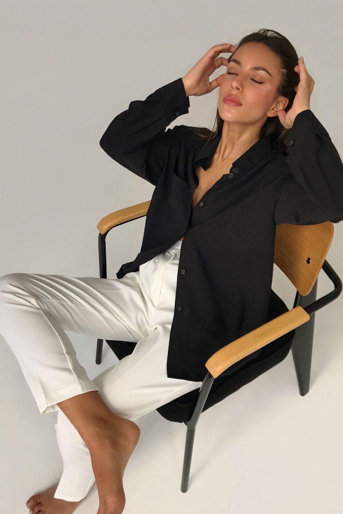 Рубашка льняная черная - THE LACE